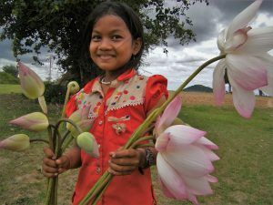 Lotus flower and girl, Cambodia